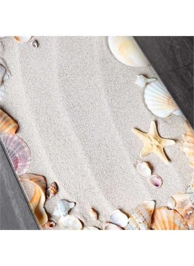 Else Halı Kahve Sarı Deniz Kabukları 2'Li Klozet Takımı Banyo Paspas Seti Halısı Renkli